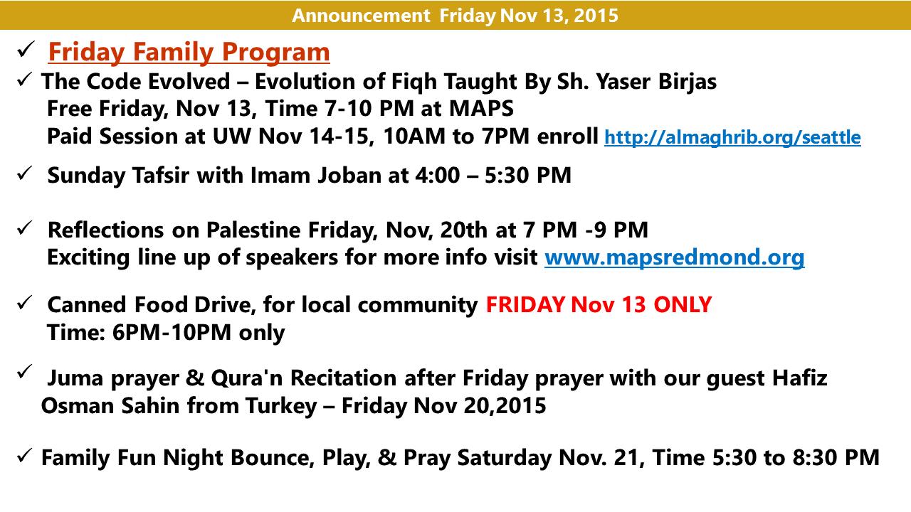 Announcement Nov 13  2015