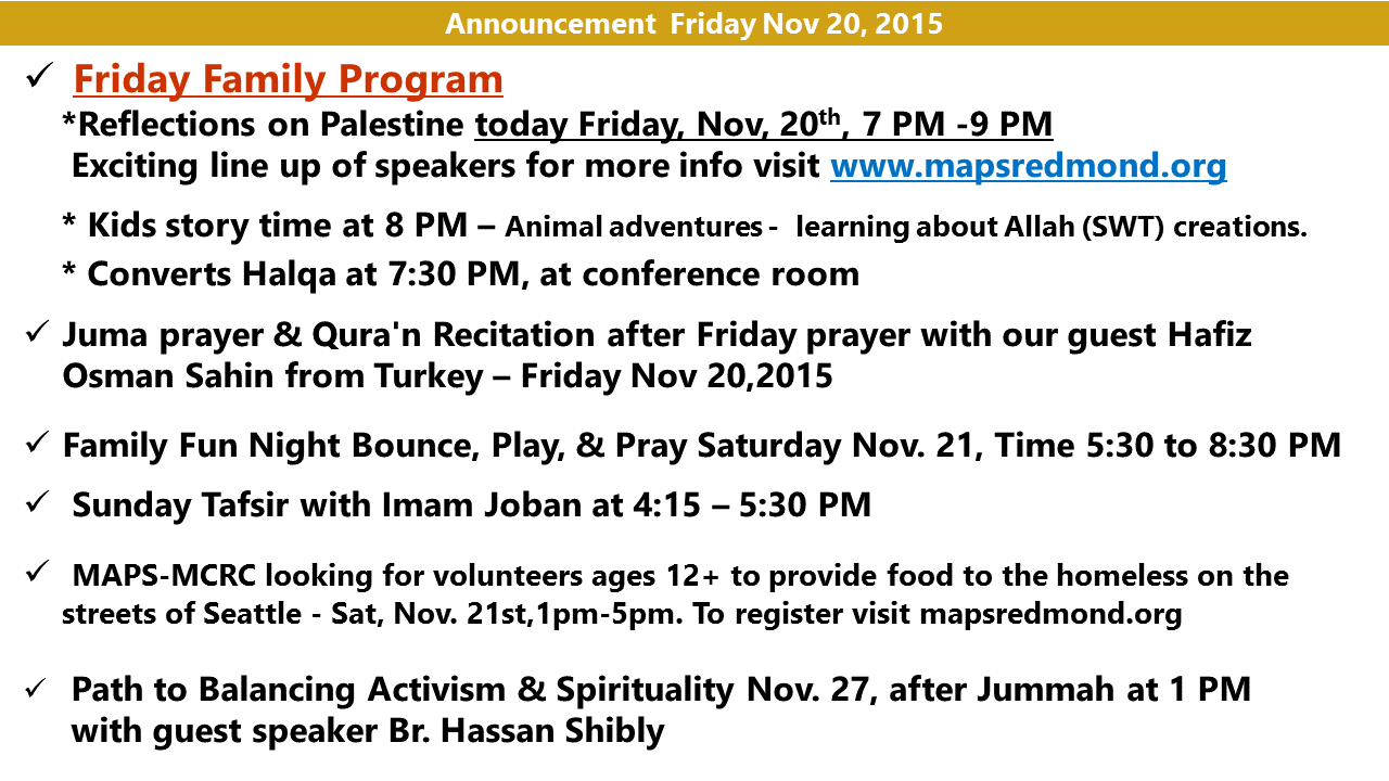 Announcement Nov 20 2015