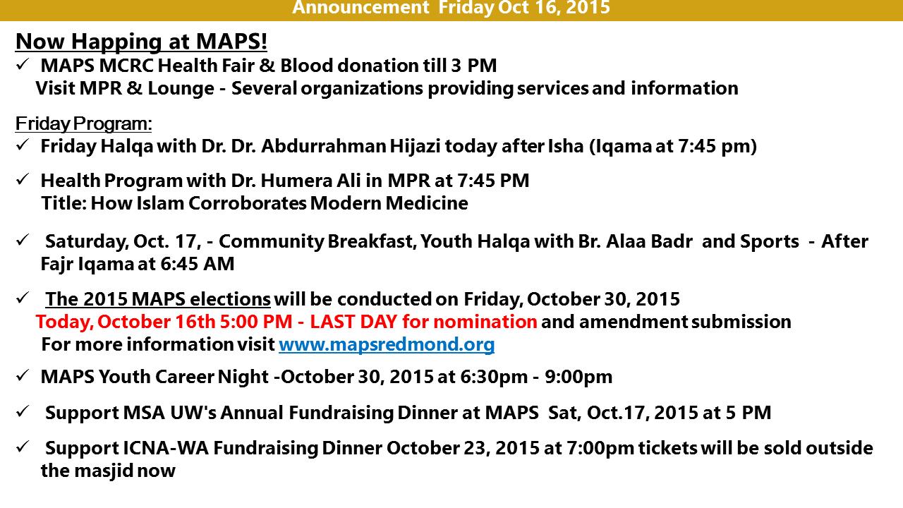 Announcement Oct 16 2015