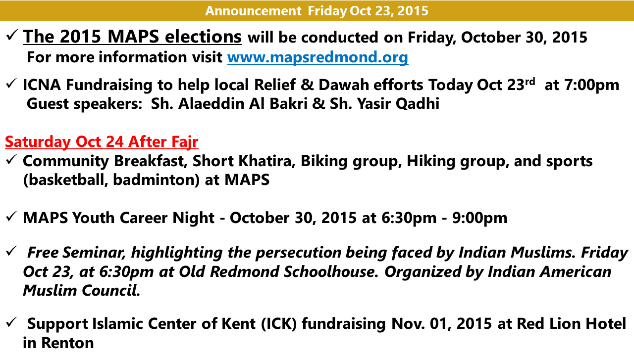 Announcement Oct 23 2015