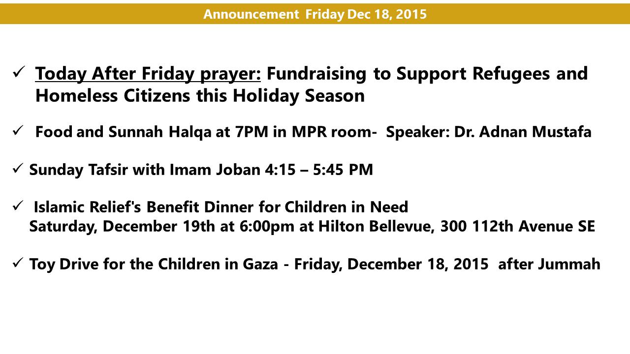 Announcement Dec 18  2015