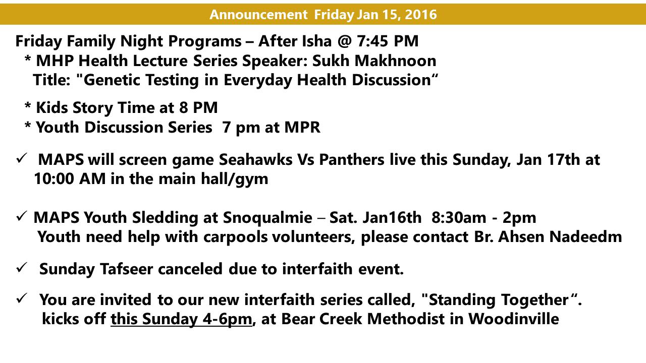 Announcement Jan 15 2016