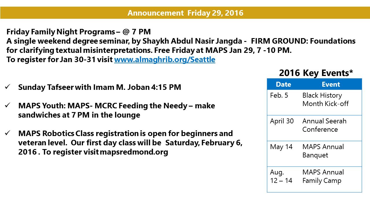 Announcement Jan 29 2016