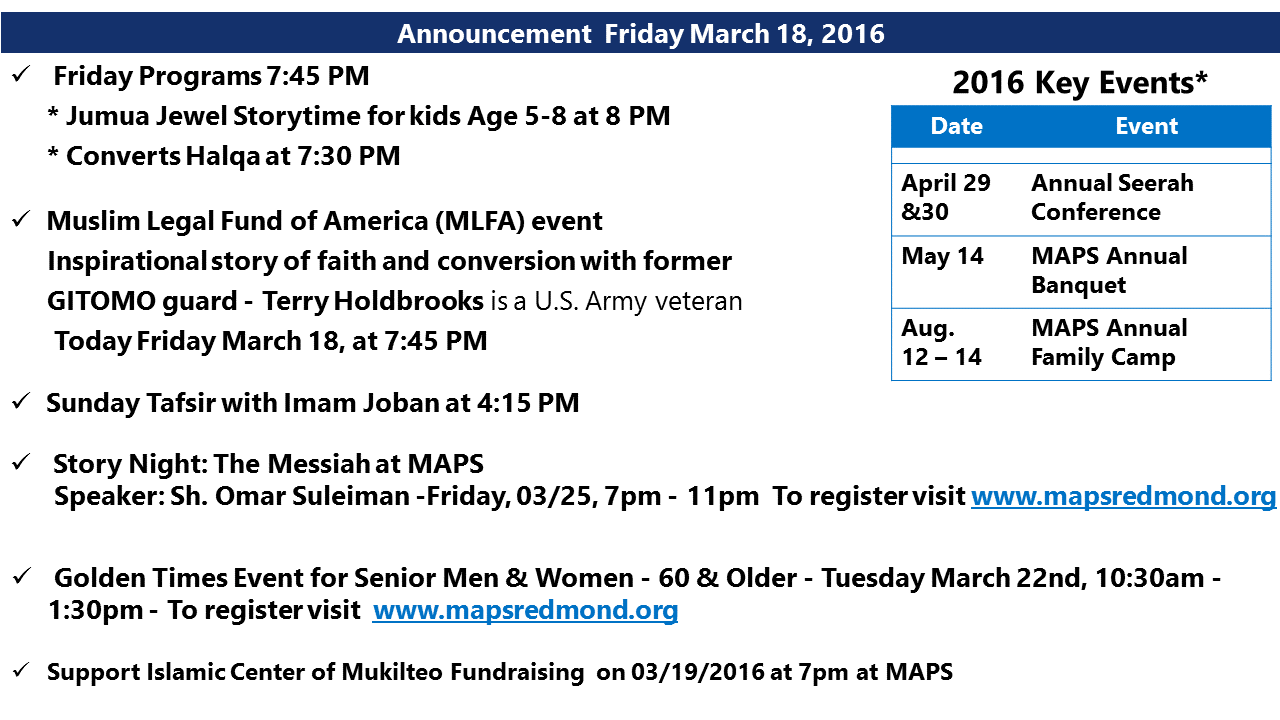 Announcement March 18 2016