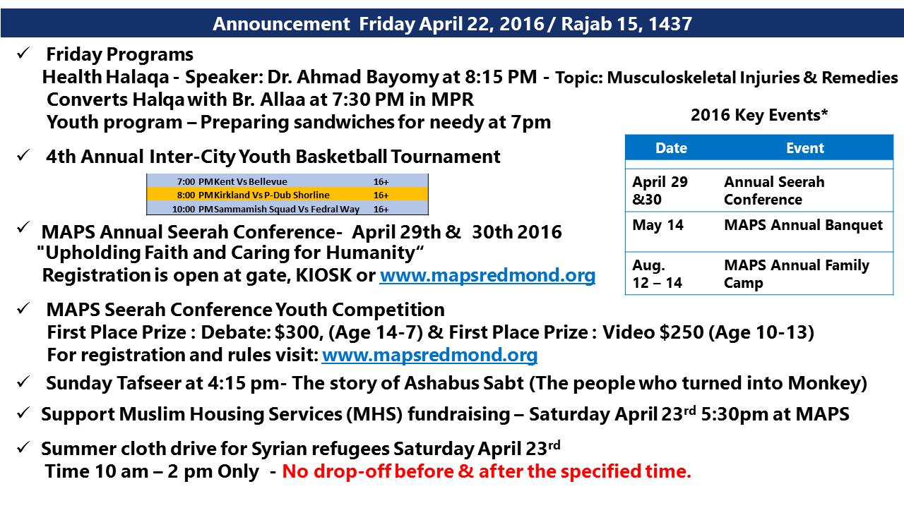 Announcement April 22