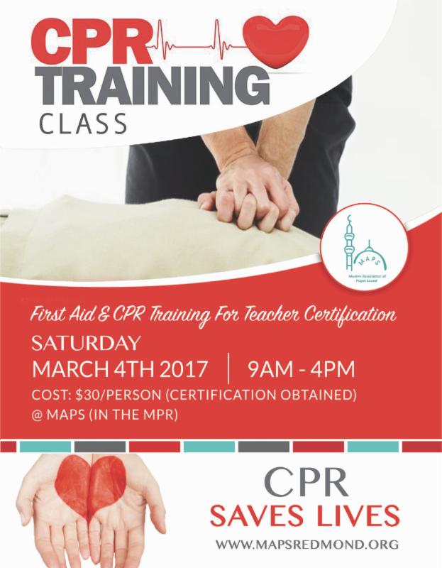 Cpr Training Class Muslim Association Of Puget Sound Maps Redmond