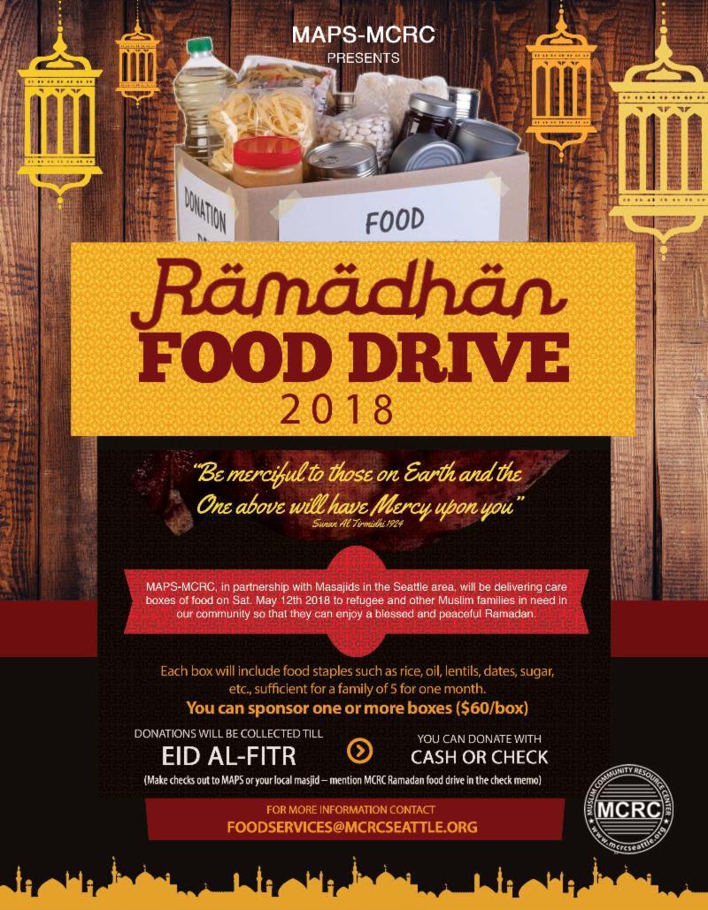 MAPS MCRC Ramadan Food Drive Volunteers Needed MAPS MCRC